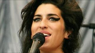 British pop singer Amy Winehouse performing at the Glastonbury music festival in 2007