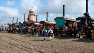 The showground at the Great Dorset Steam Fair