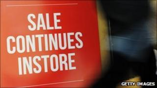 Sale sign at retail store