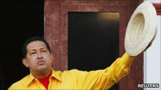 President Hugo Chavez at Miraflores presidential palace in Caracas, 28 July 2011