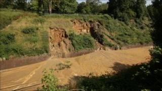 Debris cascaded down the embankment at South Croydon