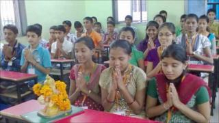 Children training to be priests in Mumbai