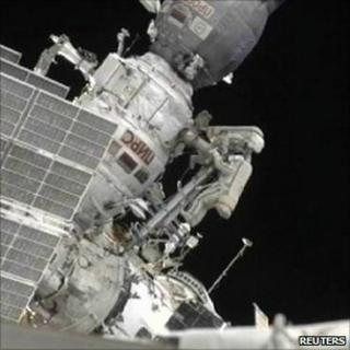 Cosmonauts outside the ISS