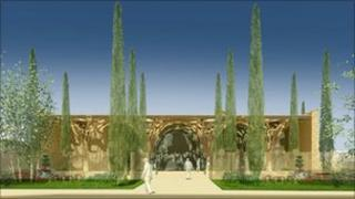 Artist's image of Abu Bakr Jamia Mosque, Cambridge