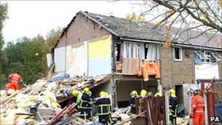 Wreckage of houses damaged in the Irlam gas blast