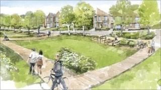 Watercolours of the first phase of Bicester's eco-town
