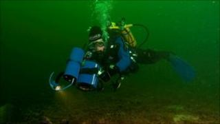 Diver surveying
