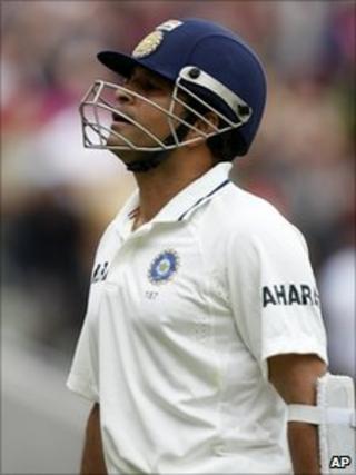 India's Sachin Tendulkar is run out. 13 Aug 2011