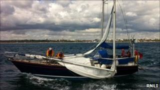 Lifeboat crew on yacht