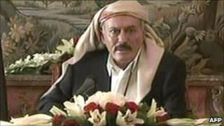 An image grab taken from Yemen's state TV shows Yemeni President Ali Abdullah Saleh delivering a televised speech from the Saudi capital Riyadh on Tuesday