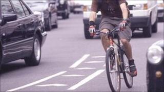 A cyclist in traffic