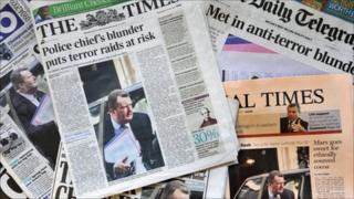 Newspaper headlines on Bob Quick blunder
