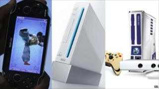A PlayStation Vita, Nintendo Wii and an Xbox 360