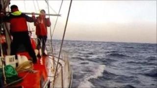 Crew of the Peter 1 in the Arctic Ocean