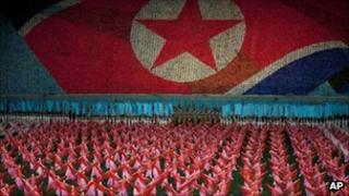 North Korean women dance in the May Day stadium in Pyongyang