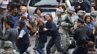 Brad Pitt filming scenes for World War Z in Glasgow