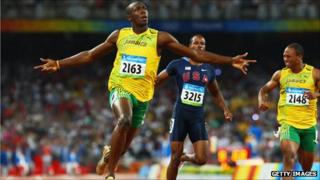 Jamaica's Usain Bolt celebrates after winning the men's 100m final in the 2008 Beijing Olympic Games
