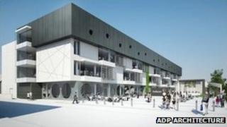 Computer-generated design of The Forum library in Southend