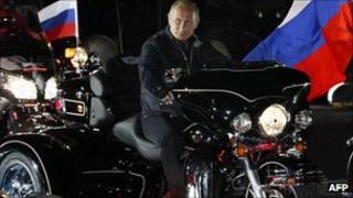Russian Prime Minister Vladimir Putin rides into Novorossiysk, 29 August