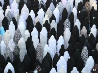 Iranian women at prayers, AP