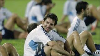Lionel Messi at a practise session on Monday at the Bangabandhu National Stadium