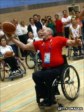 Sir Philip Craven playing basketball