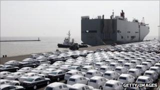 VW cars awaiting export from Emden docks in Germany