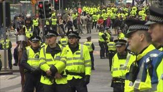 Police at the rally