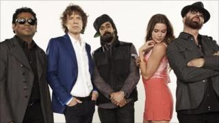 The five principle members of SuperHeavy: AR Rahman, Mick Jagger, Damian Marley, Joss Stone and Dave Stewart