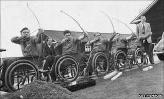 The Dutch wheelchair archery team practising for the 1953 Wheelchair Olympics