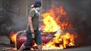Masked rioter in Hackney, 2011