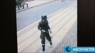 Anders Behring Breivik on surveillance video. Screen grab from ABC Nyheter