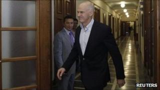 Greek PM George Papandreou in parliament - 15 September
