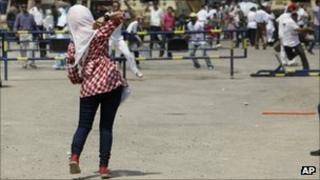 An Egyptian anti-Mubarak protester