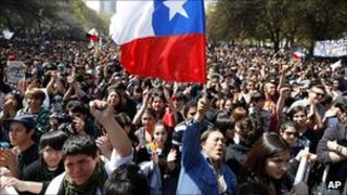 Thousands of Chilean student protesters marching in Santiago