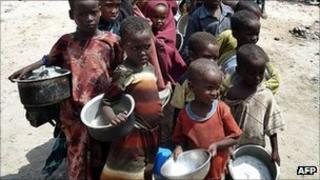 Children queuing for a meal at a WFP-feeding centre in Somalia's capital Mogadishu