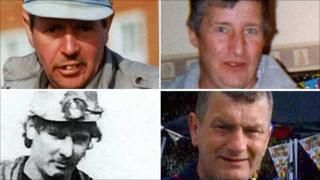 The four miners who died: Charles Breslin, Phillip Hill (top) and Garry Jenkins and David Powell (bottom, left to right)