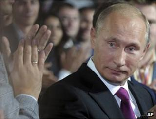 Russia's Prime Minister Vladimir Putin receives applause at the United Russia congress in Moscow, 24 September