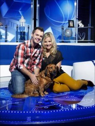 Barney Harwood and Helen Skelton with Barney the dog on the new Blue Peter set