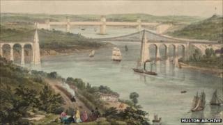 A lithograph by Picken of Telford's Menai Suspension Bridge and Stephenson's Britannia Tubular Bridge from about 1850