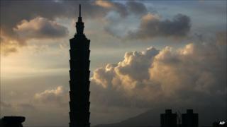 Silhouette of skyscraper in Taiwan's capital Taipei