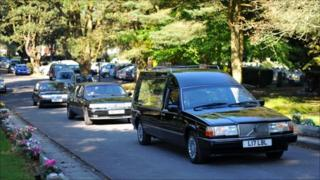Hearse at Charles Breslin funeral