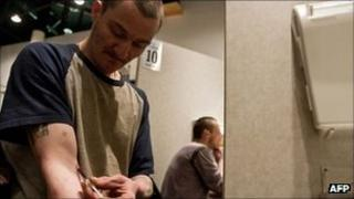 A man at the Insite supervised injection Center in Vancouver, Canada