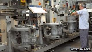 Worker in a General Motors powertrain factory