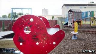 A run-down children's play area