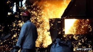Man in a steel works