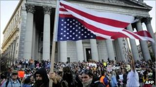 Occupy Wall Street protesters and union members stage a protest near Wall Street in New York, 5 October 2011.