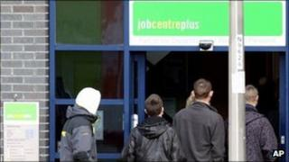 Young people outside a job centre