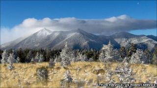 A shot of the San Francisco Peaks in winter