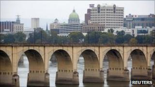 A railway bridge over the Susquehanna River in Harrisburg 12 October 2011